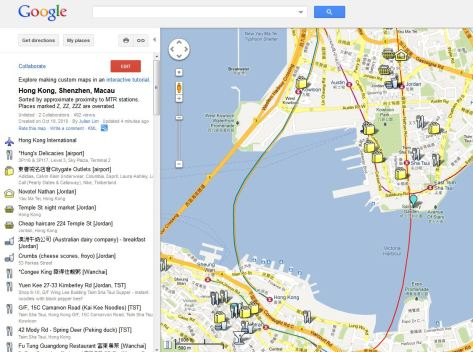 Google Map of places to go in HK, Shenzhen & Macau